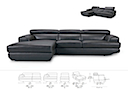 30990(3PR+CSAL) - RIGHT ANGLE SOFA 3 Seater (Black Leather)