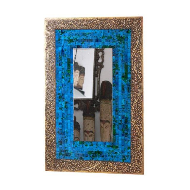 Mirror blue gold rect mirror mosaic uae dubai rak for Mirror 40 x 60