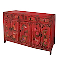 84127MDJ - BUFFET CABINET 4 Drawers 6 Doors (Red)
