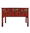 84135MDJR - CONSOLE TABLE 7 Drawers (Red)