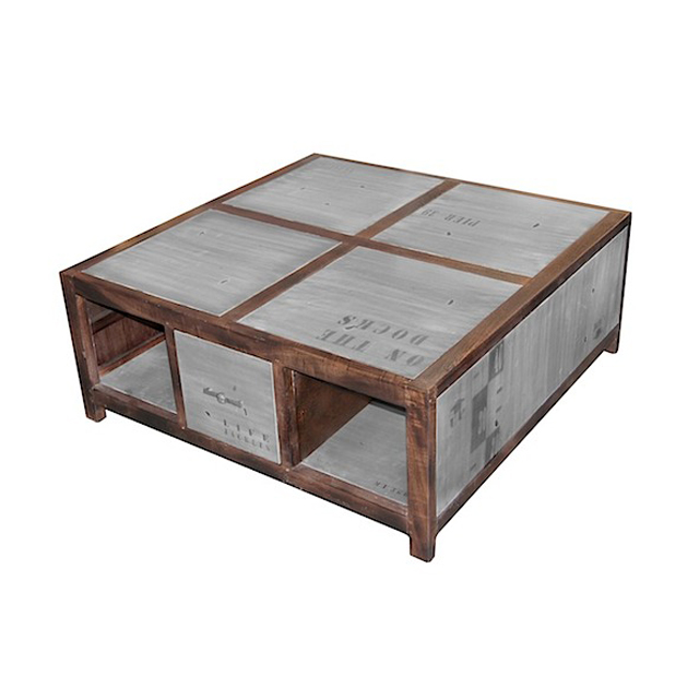 Coffee Table With Map Drawers: COFFEE TABLE 100x100 2 Drawers 4 Niches