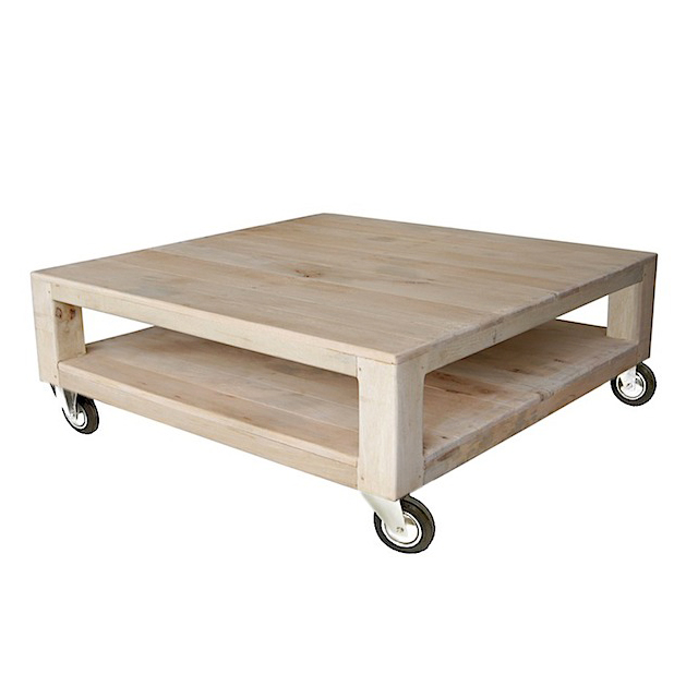 Coffee table palette 4 wheels docker wood natural for Furniture uae