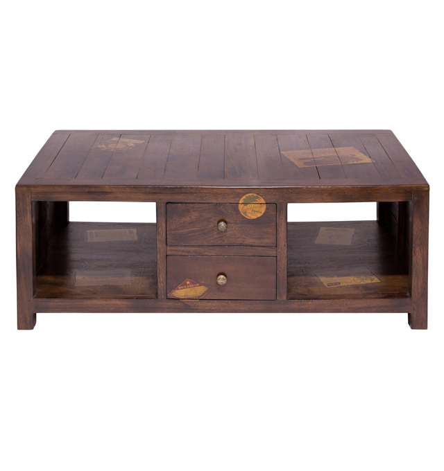 Map Drawer Coffee Table: Docker Wood Living Room Furniture