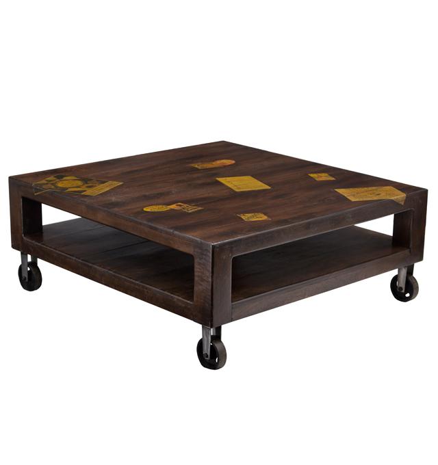 Coffee table palette 4 wheels docker wood dark living for Coffee tables uae