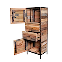 DOF214 - HIGH CHEST 2 Drawers 2 Doors (Open)