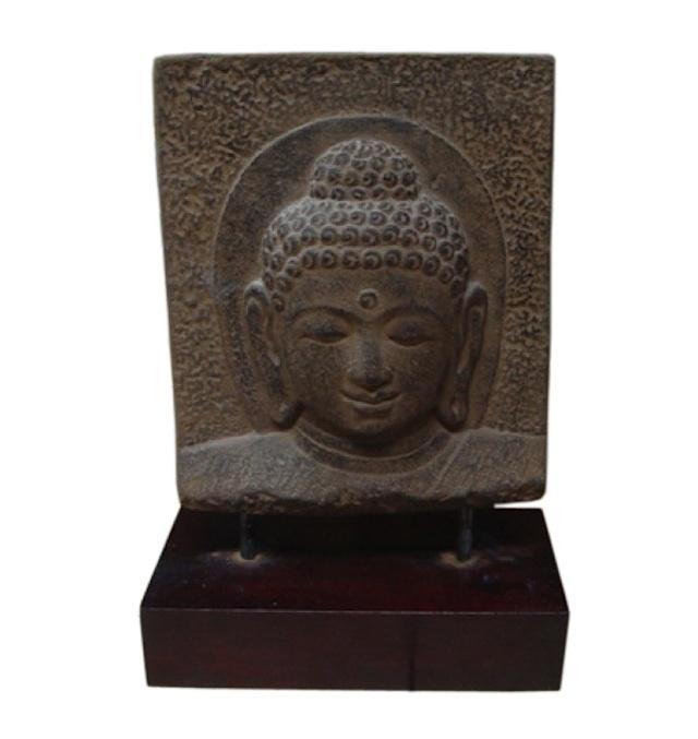 BUDDHA FACE FULL STAND WOOD | Stone Buddhas | Maison Chic