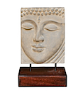 HSS37 - RELIEF BUDDHA HEAD STATUE ON STAND