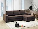 MB-0974 - SOFA RIGHT & LEFT ANGLE (Brown Fabric)