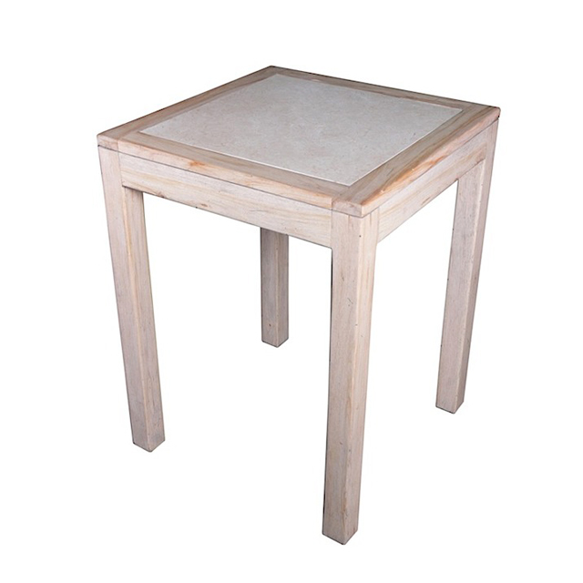HIGH DINING TABLE MARBLE INLAY KD Deauville Weathered Dining Room