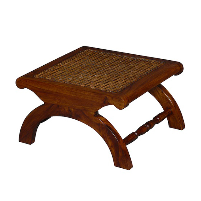 MM400 Foot Stool Teak Rattan 50x50x30cm