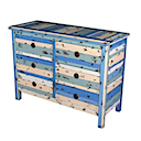 PLY14 - COMMODE 6 Drawers (Blue)