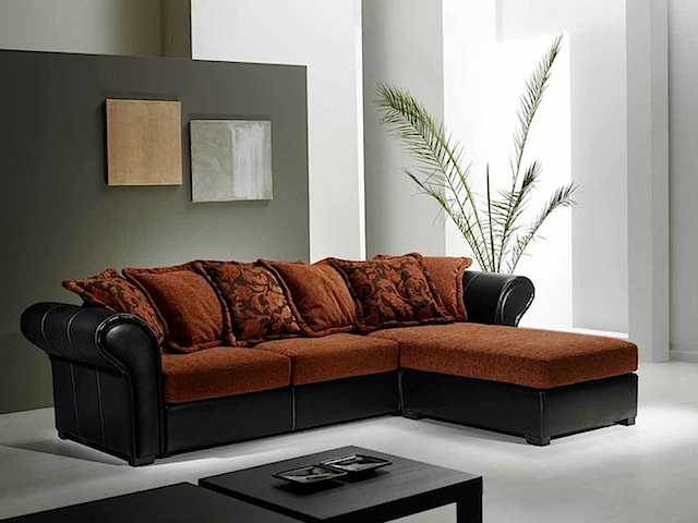 SF7219 - Sofa Right & Left Angle Brown Black Fabric (Sofa Bed Fabric)