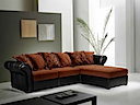 SF7219 - SOFA RIGHT & LEFT ANGLE (Brown Black Fabric)