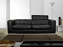 Leather Sofa - Sofa 2 seater black leather